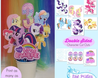 My Little Birthday Printable   Little Pony Personalized Centerpiece    Little Pony Decorations   Rainbow   Epic Parties by REVO
