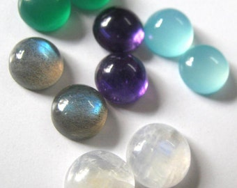 Lot of Mix Gemstone Labradorite, Green Onyx, Amethyst, Aqua Chalcedony and Rainbow Moonstone 9x9 MM Round Cabochons