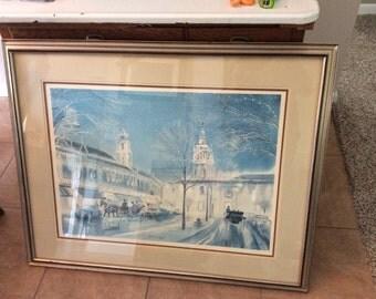 """Vintage J R Hamil watercolor scene. Framed. 40""""x32"""""""