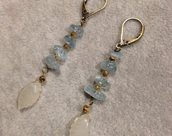 Aquamarine moonstone pyrite Earrings