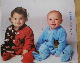 Kwik Sew K3960 Baby (Size XS-S-M-L-XL)Baby Romper