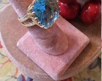 Large Vintage Blue Aqua Ring