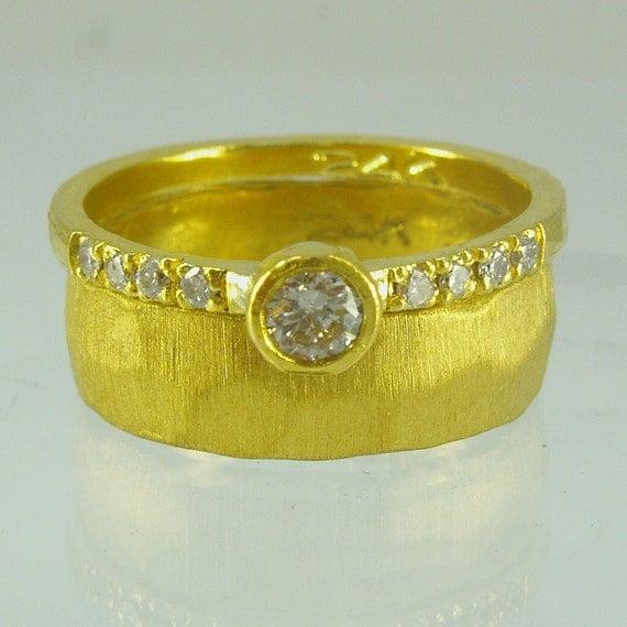 Pure Gold & diamond engagement ringHandmade Engagement