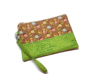 Cutest owls on a tree wristlet wallet, phone purse, double zippered wristlet. Brown and chartreuse.  Owls purse gift idea. Under 30 gift.