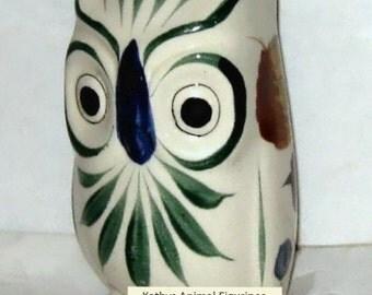 Mexico Hand Painted Pottery Clay Owl Bird Figurine Animal