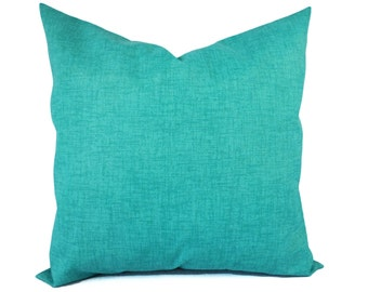 Two Indoor Outdoor Pillow Covers - Solid Green Pillow Covers - Aqua Pillow - Teal Pillow Covers - Patio Pillow - Solid Turquoise Pillow