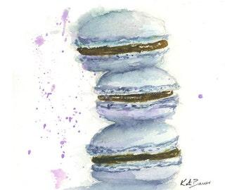 Macaron -  Print of watercolor painting