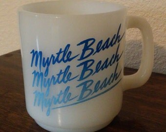 Vintage Glasbake Milk Glass Myrtle Beach, South Carolina Coffee Mug