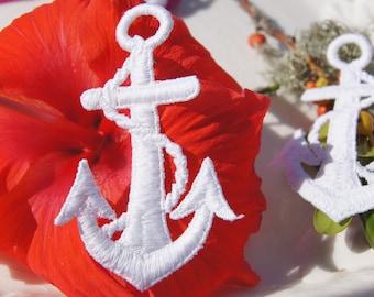 White Anchor Nautical Applique, Vintage Embroidered Applique Anchor, Sew On White Anchor Nautical Embroidery Appliques Wholesale #1228