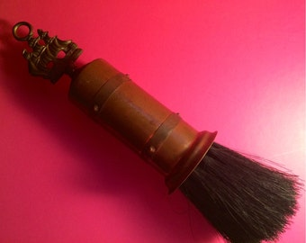 Vintage Copper Fireplace Brush Boasting Preppy Nautical Sailing Ship