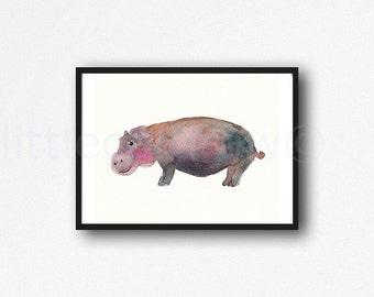 Hippopotamus Watercolor Painting Animal Art Print Hippo Watercolour Wall Art Animal Home Decor Littlecatdraw