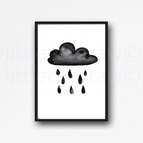 The Little Black Rain Cloud: Little Black Rain Cloud Print Watercolor Painting Art Print