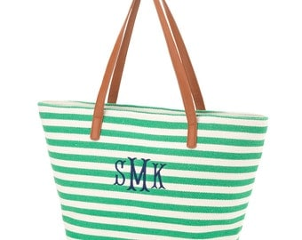 Green Stripe Charlotte Purse