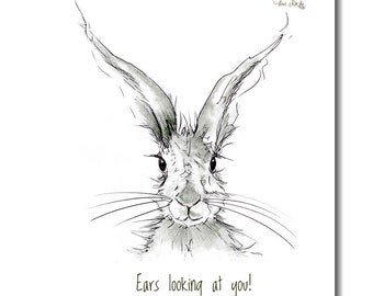 Hare Tea Towel - Kitchen Towel, 100% Cotton, 'Ears Looking At You!' -  Animal Gift, Country Kitchen, Easter Gift