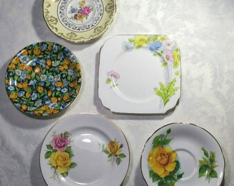 Vintage decorative wall plates, Instant wall art display.  Hand painted Kent china, paragon Harry Wheatcroft, coronet ware plates. Yellows.