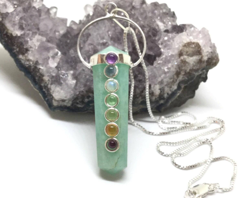 chakra necklace sterling silver tourmaline pendant black