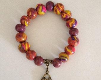 Polymer Clay Charm Bracelet - Gem Handbag