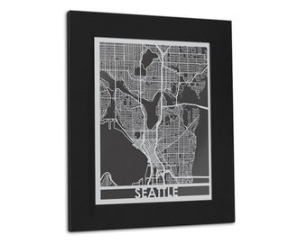 "Seattle - 11x14"" Framed Stainless Steel Laser Cut Map | Wall Art"