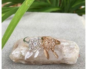 Dreamcatcher Ring/ Minimalist Jewelry/ Swarovski Crystal Embellished / Bridesmaids Jewelry