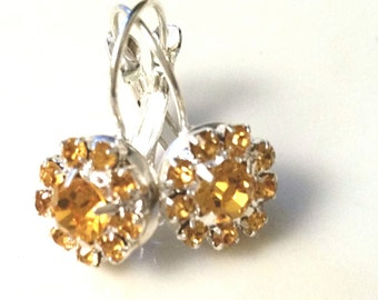 Flower leverback earrings, Yellow-colored Rhinestone, Crystals