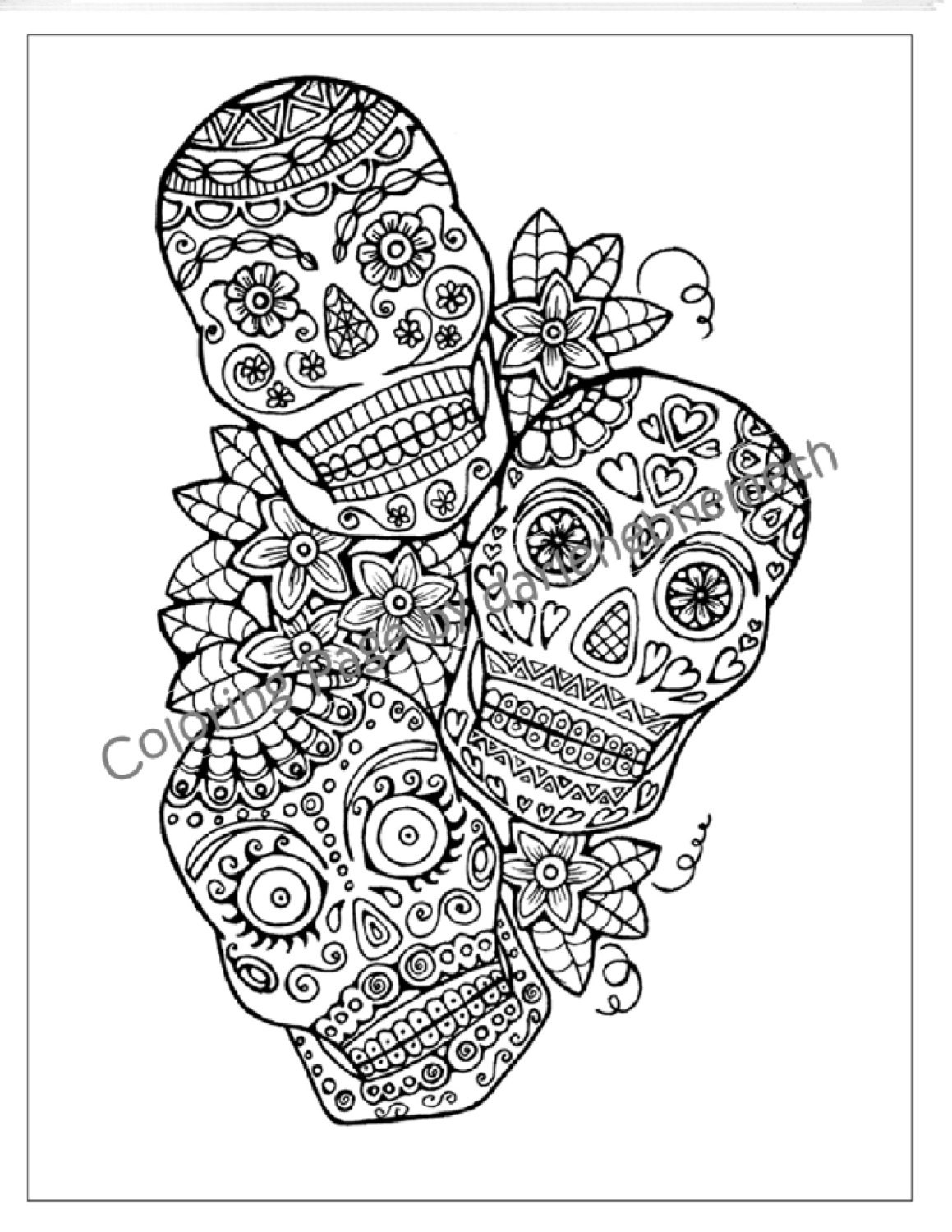 Sugar Skull Coloring Page to Print and by LittleShopTreasures