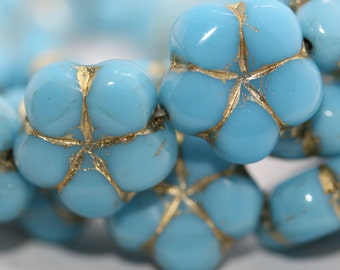 Czech Pressed Glass Flower Beads Baby Blue with Golden Inlay, side drilled 14x6mm: 6pc 630