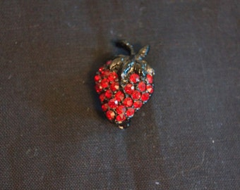 Vintage Red Rhinestone Strawberry Brooch