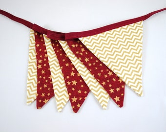 Maroon Red Gold Star Chevron Christmas Pennant Bunting Banner