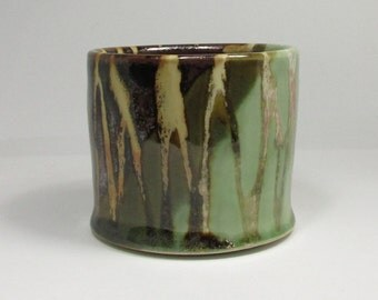 tumbler in glittery tenmoku and lime green with satin stripes