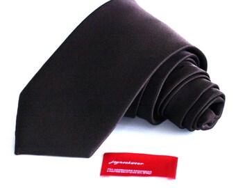 TRUFFLE Brown Silk Tie (3.5 or 2 inch) Dark Brown