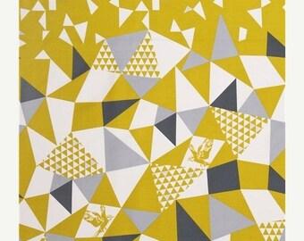 CLOSING SALE ECHINO Sateen Soaring in Mustard Yellow fabric by Etsuko Furuya for Kokka Japan Half Yard