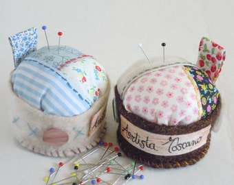 Round Patchwork Pincushion, Pastel Blue Pink Needle Cushion, Unique Gift For Sewers And Friends.