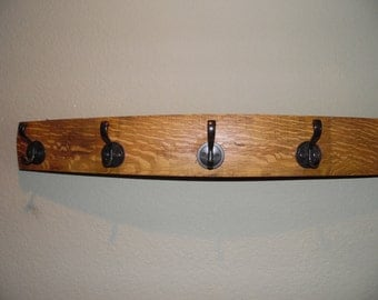 Wine Barrel Stave Hat and Coat Rack with Five Hooks, Home Decor, Storage, Towel Holder, Rack