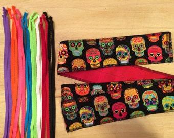 Choose your color tie Sugar Skulls cross fit Wrist Wraps