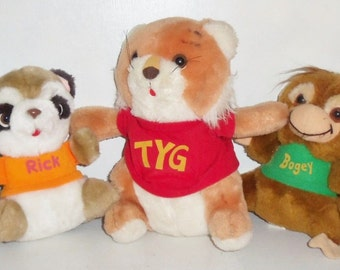 5 Halmark 1980s Shirt Tales Plush Stuffed Animals ~ 9in Tyg, 7in Digger, Rick & Bogey