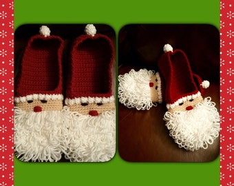Crocheted Santa Slippers