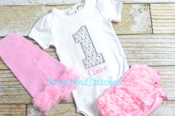 Pink and silver First (1st) Birthday Outfit, ruffle bloomers - First birthday outfit, birthday bloomers! pink silver cake smash outfit tutu