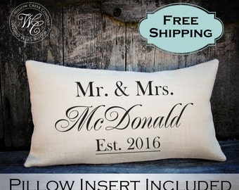 Wedding Gift, Wedding Gifts, Personalized Pillow, Newlywed Gift, Engagement Gift, Rustic Wedding Gift, Burlap Pillow