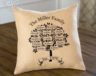Family Tree, Burlap Family Tree, Personalized Family Tree Burlap Pillow, Perfect for Anniversary, Housewarming, Birthday Gift