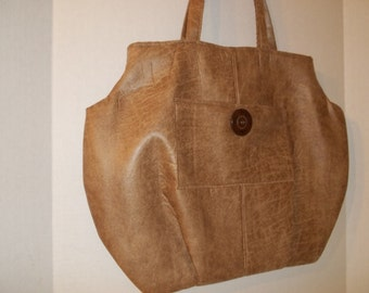 Tote Faux Leather w/ Large Button Free Shipping