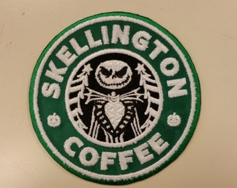Skellington Coffee Spoof Embroidered Patch, Jack Skellington Patch, Skeleton Coffee Patch, Iron On Spoof Patch, Geeky Fanwear Patch