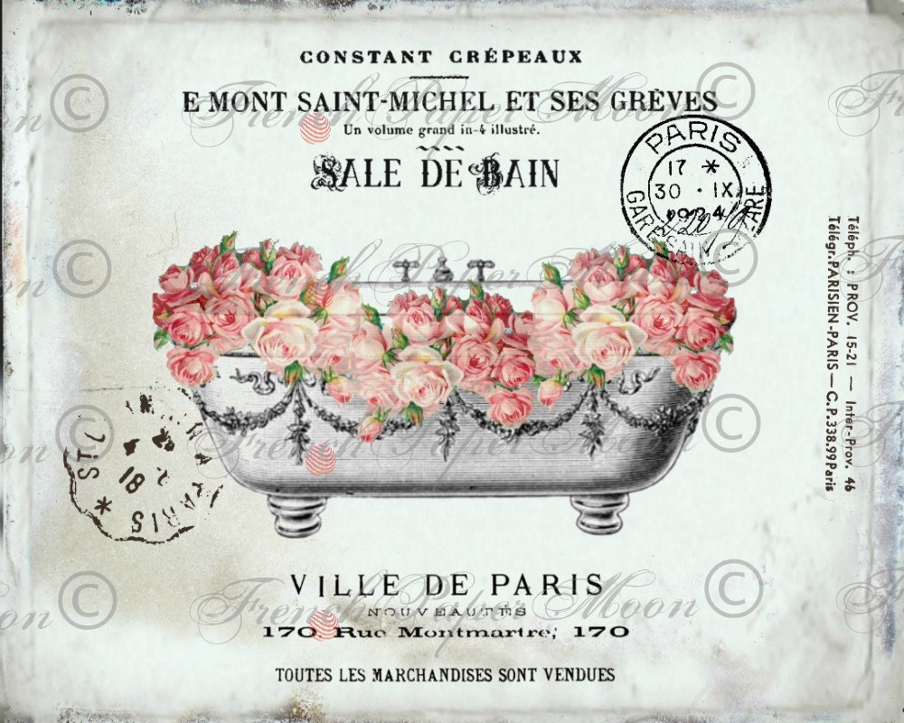 vintage digital french bathtub shabby roses romantic. Black Bedroom Furniture Sets. Home Design Ideas