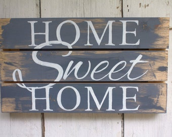 Decorative Wooden Sign - Home Sweet Home - Gray - White