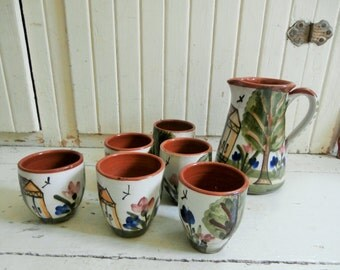 Vintage, 1980's, Lesvos, Greece, Pottery, Hand Painted, Redware, Wine Pitcher and Six Cups