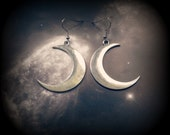 Big Silver Moon Earrings Hypoallergenic Crescent Moon Earrings with Hooks Hoops or Posts