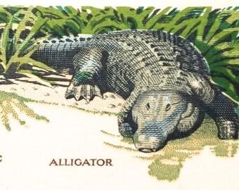 10 Unused Alligator Stamps // Vintage 8 Cent Wildlife Conservation // Florida Alligator Postage Stamps for Mailing