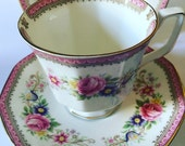 Vintage Pink trio - Queen's Rosina China Co Ltd (Richmond pattern) - teacup trio - teacup, saucer & plate - bone china - English china