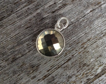 1ea.11mm Pyrite and Sterling Silver Round Pendant Charm with 5mm Jump Ring