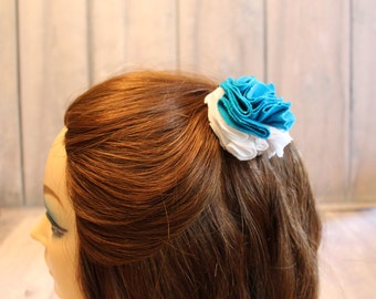 aqua fabric hair clip  for weddings prom or Derby