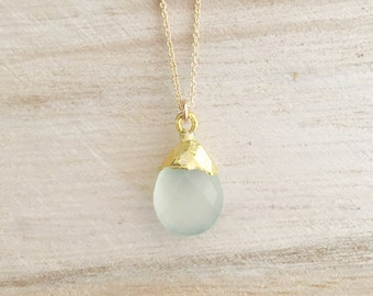 Seafoam gemstone drop necklace, seafoam chalcedony, chalcedony necklace, seafoam, layering necklace, gold necklace